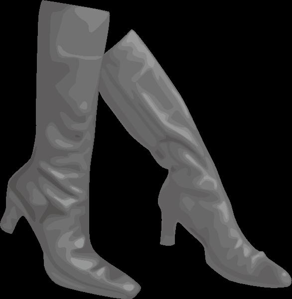 黒いロングブーツのイラスト