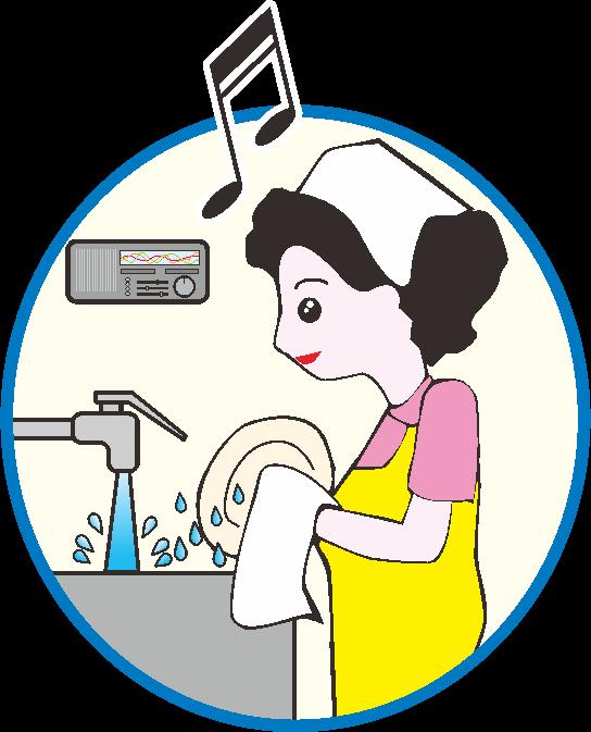 懐かしい音楽を聴きながら食器洗いをしている主婦のイラスト