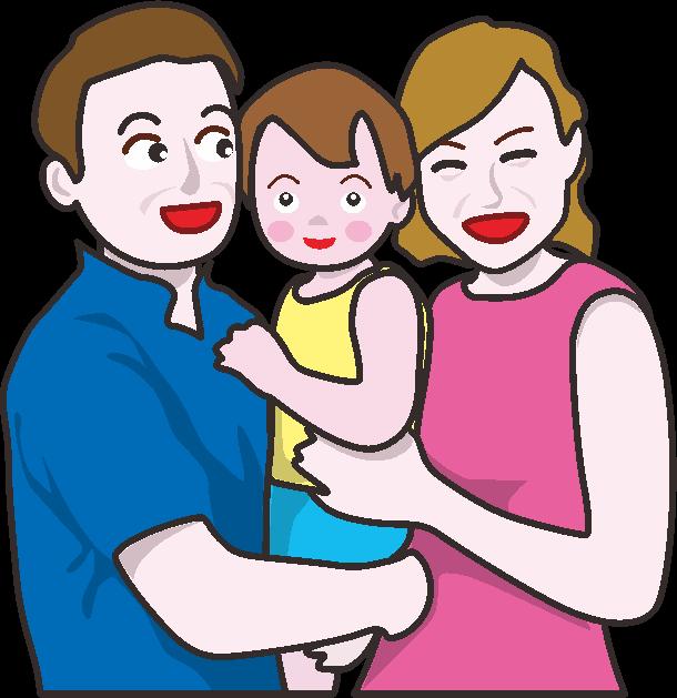 子どもを真ん中にはさんで抱っこしている若い夫婦のイラスト