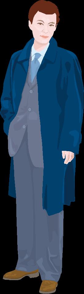 コートに背広姿の男性