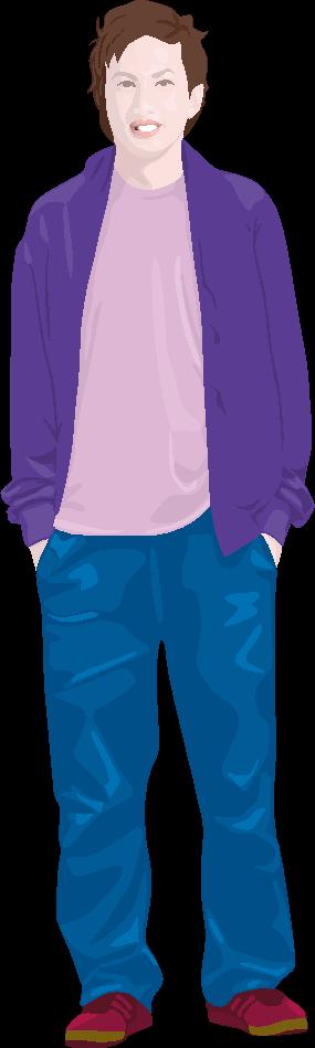 ラフな格好の若い男性のイラスト