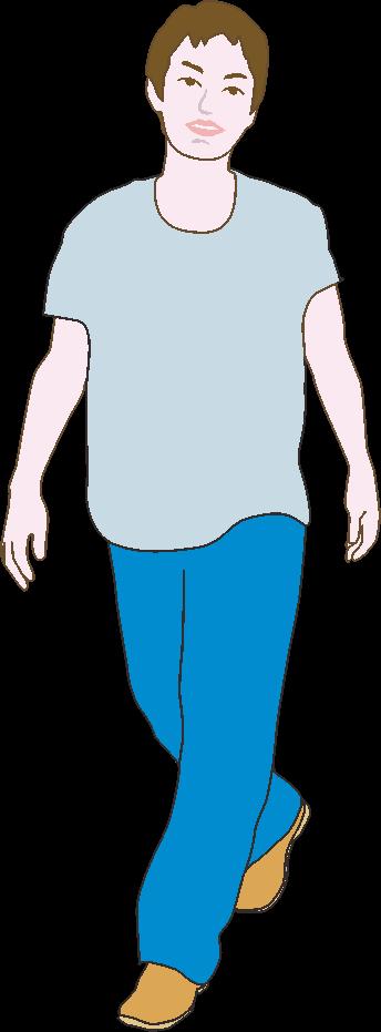 軽快に歩いている若い男性のイラスト