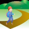 山へハイキングに出かける男性のイラスト