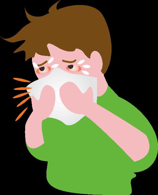 花粉症で鼻水が止まらない男性のイラスト