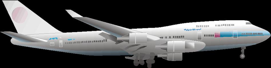離陸して大空へ向かう大型旅客機のイラスト