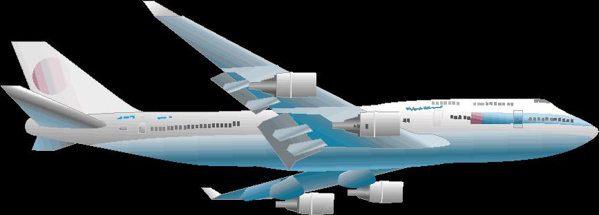 さっそうと飛ぶ旅客機のイラスト