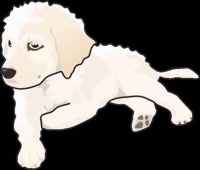 たそがれている子犬のイラスト