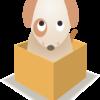 箱に入ってしょげている子犬のイラスト