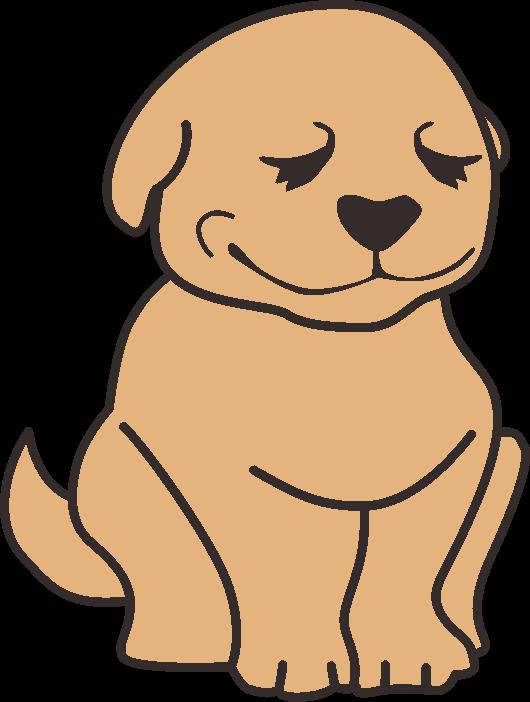 微笑んでオスワリしている茶色の犬のイラスト