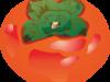 赤く熟した柿のイラスト画像