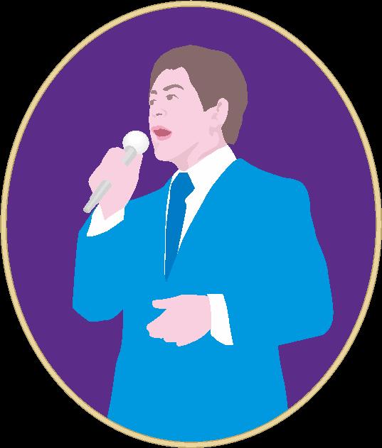青いスーツ姿で熱唱している男性歌手のイラスト