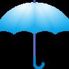 カラフルな青い雨傘のイラスト