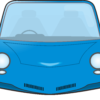 青い小型乗用車のイラスト