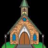 緑の丘の上に建っている教会のイラスト