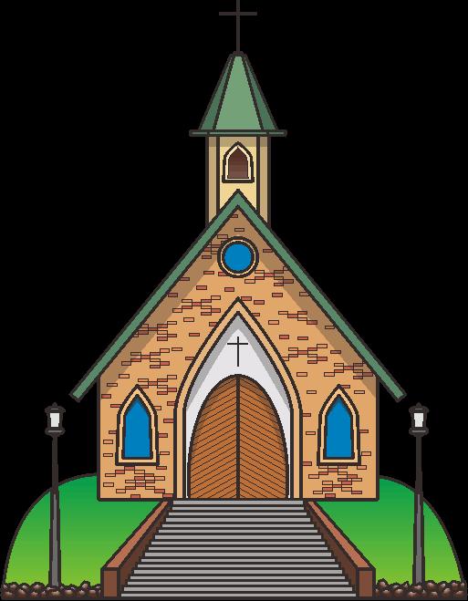 緑の丘の上に建っている教会堂のイラスト