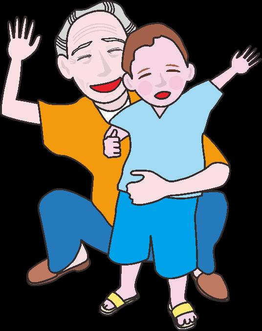 笑顔で手を振っているお爺さんと孫のイラスト