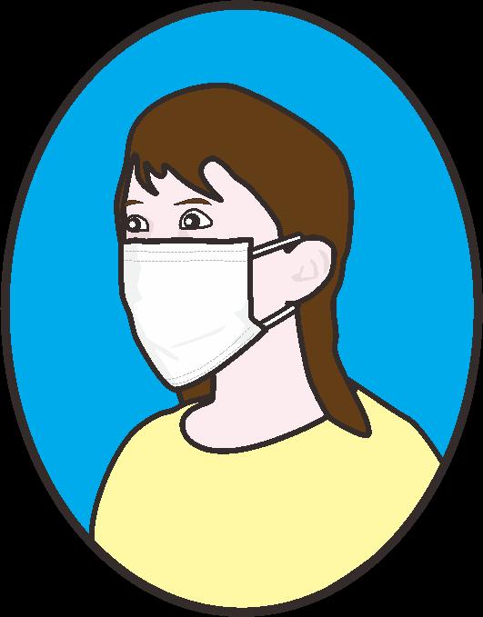 抗菌マスクをしている女性のイラスト