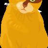 小首を傾げている茶色い猫のイラスト