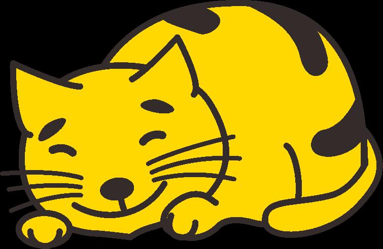 笑いながら眠っている猫のイラスト