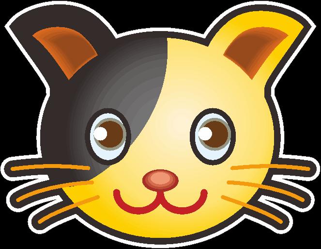 可愛いネコのシール用イラスト
