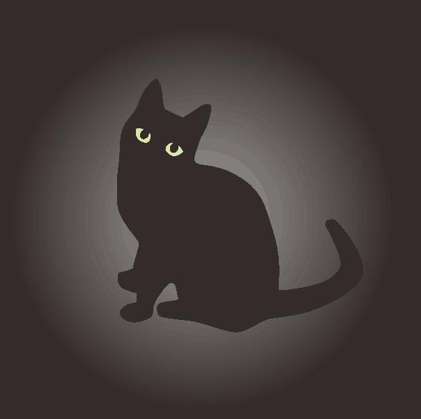 闇夜に黒猫がボーッと浮かんでいるイラスト