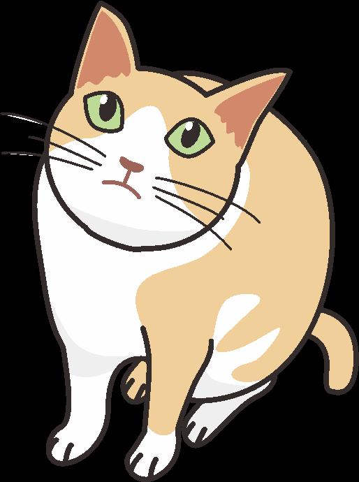 空をじっと見上げている好奇心の強い猫のイラスト
