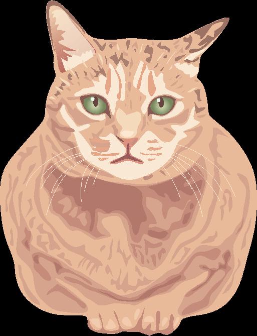 緑色の目をした行儀のいい猫のイラスト