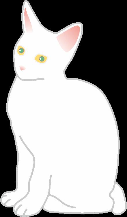 緑色の目をしたメスの白猫のイラスト