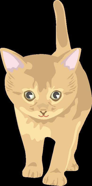 いたずらの機会を狙っている若い猫のイラスト