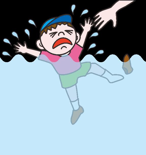 溺れそうな児童のイラスト
