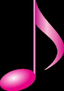 ピンク色の立体風な8分音符