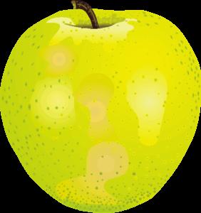 緑黄色の王林リンゴのイラスト画像