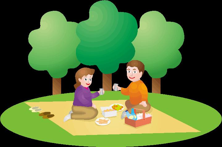 ピクニックでランチしているイラスト
