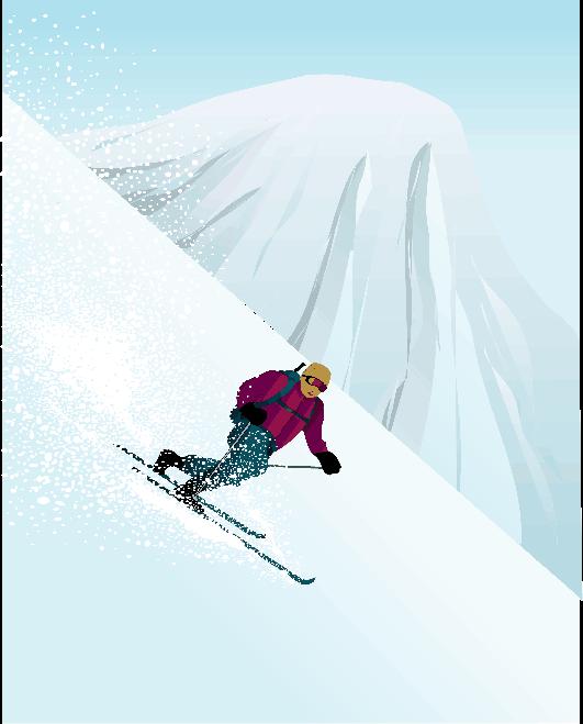 バックカントリーを滑降するテレマークスキーのイラスト