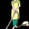 電気掃除機をかけている主婦のイラスト