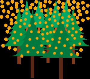 スギ林を飛び交っているスギ花粉
