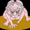 仕切りから立ち上がろうとする構えの爺さん相撲力士のイラスト