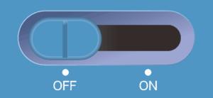 オフの青いスライドスイッチ