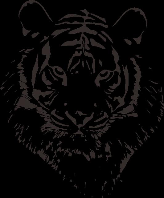 黒一色で描いたトラのイラスト
