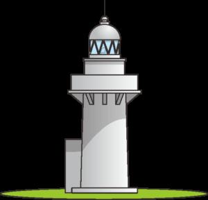 緑の芝生の上に建っている白い灯台