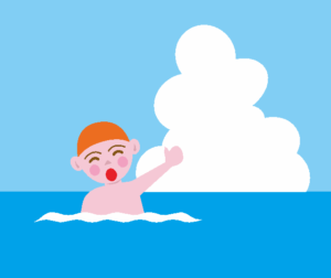 海水浴をしている男の子