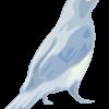 目の大きい青い小鳥のイラスト