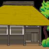 自然と一体感のある藁葺き屋根のイラスト