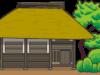 自然との一体感あふれる藁葺屋根の小屋のイラスト