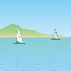 海を走る2艇のヨット