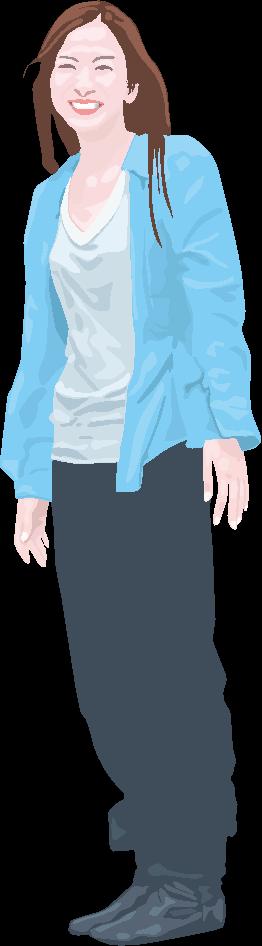 笑顔で立っている若い女性のイラスト