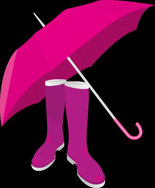 梅雨対策の雨傘とオシャレなレインブーツのイラスト