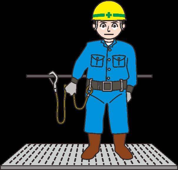 高所作業者が安全帯を付けているイラスト
