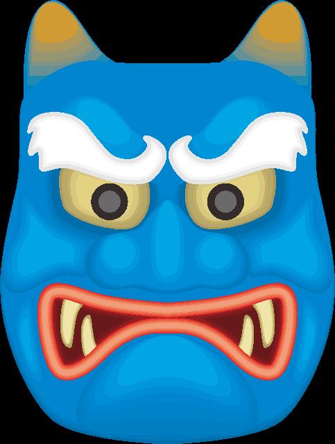 眉が白い青鬼のお面のイラスト