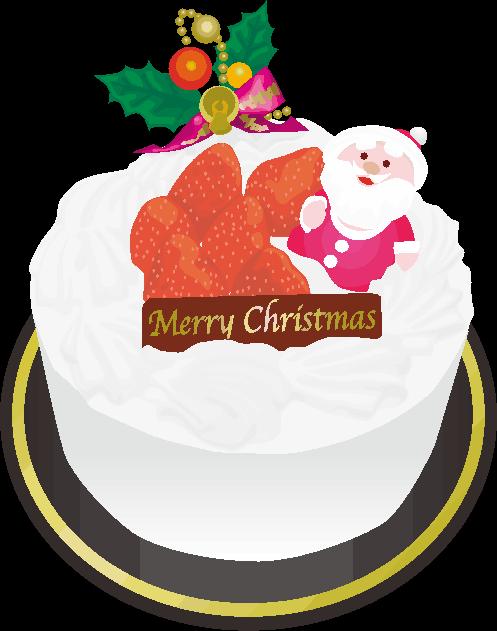 小さなサンタクロースの人形が付いたクリスマスケーキのイラスト